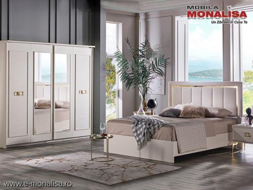 Set Mobila Dormitor moderna alb fildes Veyron de Lux usi glisante