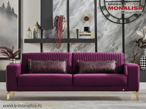 Canapea extensibila violet 3 locuri Veyron - moderna de lux