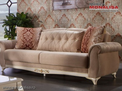 Canapea de lux 3 locuri Extensibila cu lada Vienna capucino