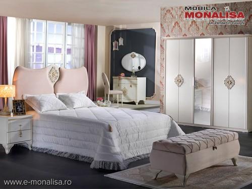 Mobila de lux dormitor alb Ivory matrimonial Vienna