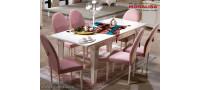 Vanzare Masa extensibila si scaune living de lux Vienna alb fildes  Bucuresti