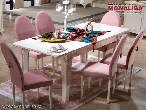 Masa extensibila si scaune living de lux Vienna alb fildes