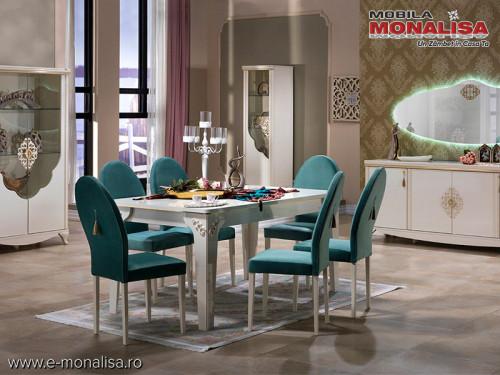Mobila Living de Lux Vienna Alb fildes model elegant