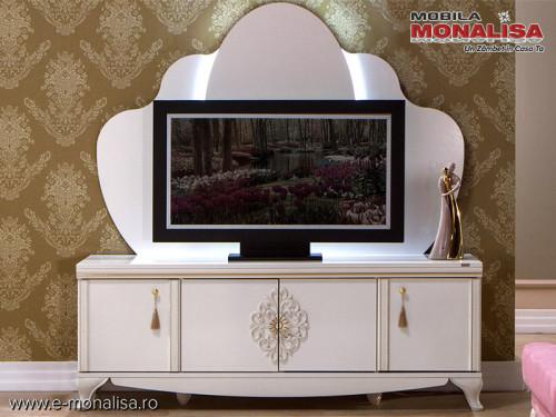 Comoda TV pt. Living elegant - Vienna alb fildes de Lux