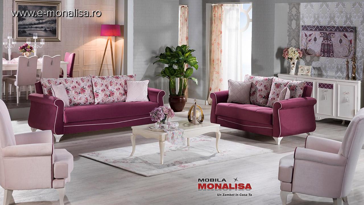 Canapele extensibile si fotolii de lux Mov cu flori Bellona