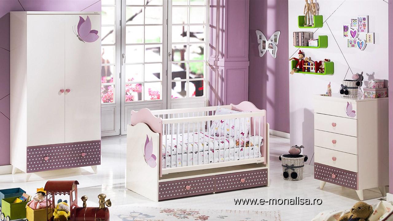 Patut copii bebe alb roz fuchsia Joyful