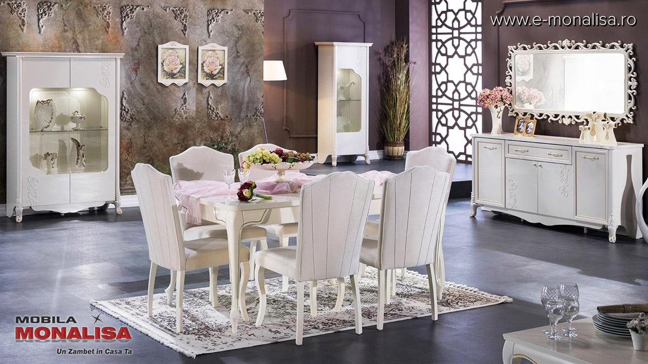 Mobila de lux living dining sufragerie alba eleganta