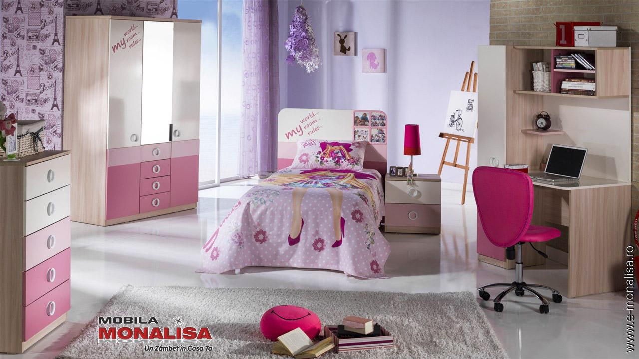 Mobila dormitor tineret fete roz cu birou Portivo
