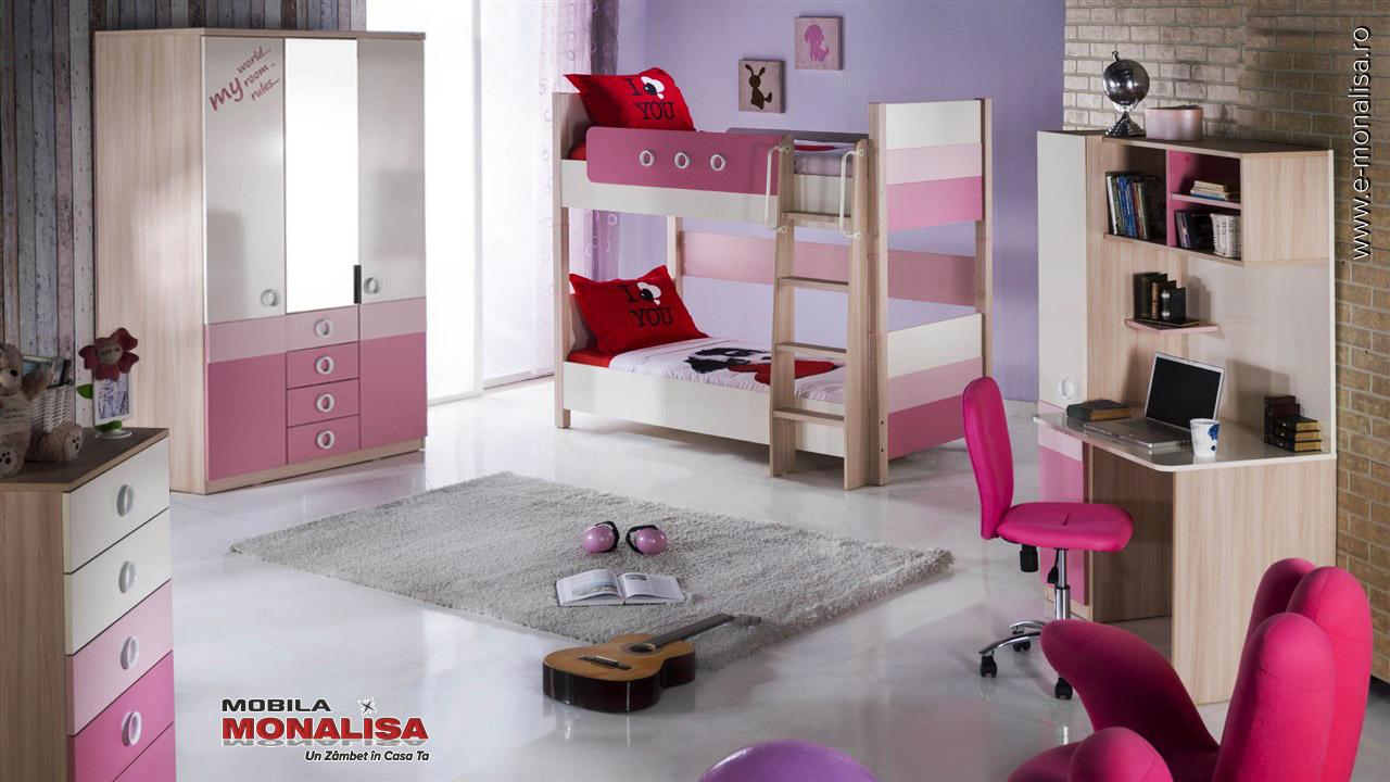 Mobila dormitor 2 copii Paturi Suprapuse Portivo roz