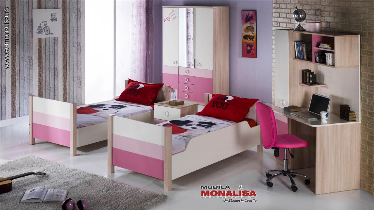 Mobila dormitor 2 copii roz Portivo