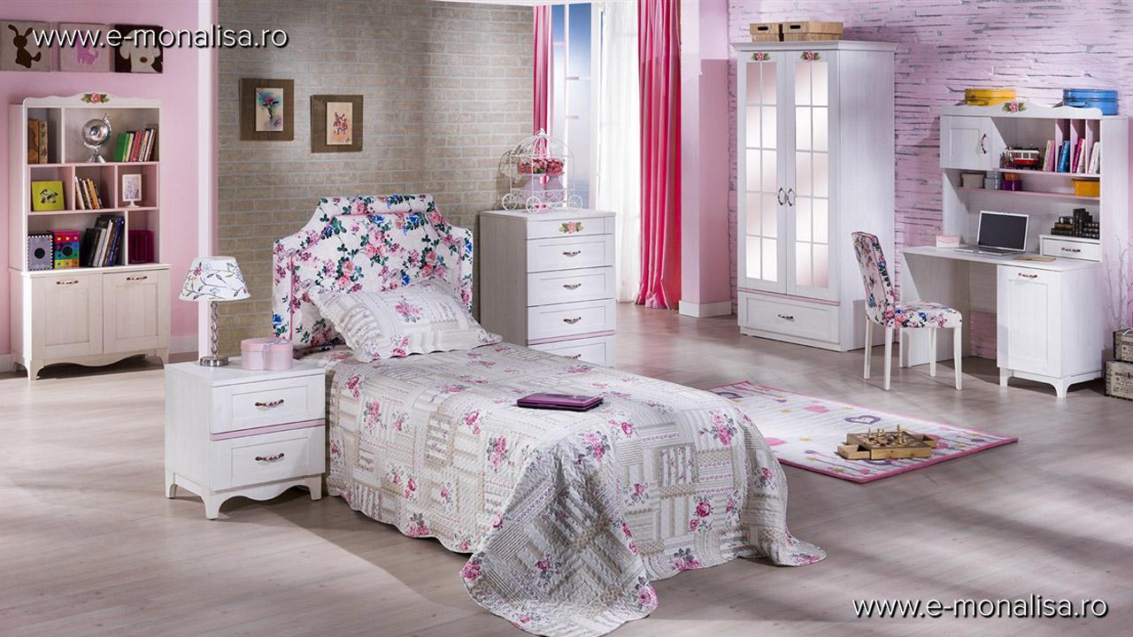 Mobila clasica dormitor fete alb roz Venturo