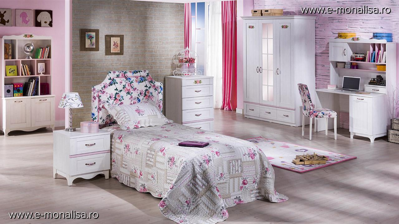 Mobila alba camera copii alb roz Venturo