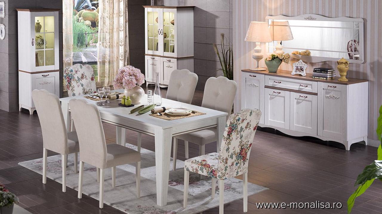 Mobila Sufragerie alba Living clasic modern Venturo