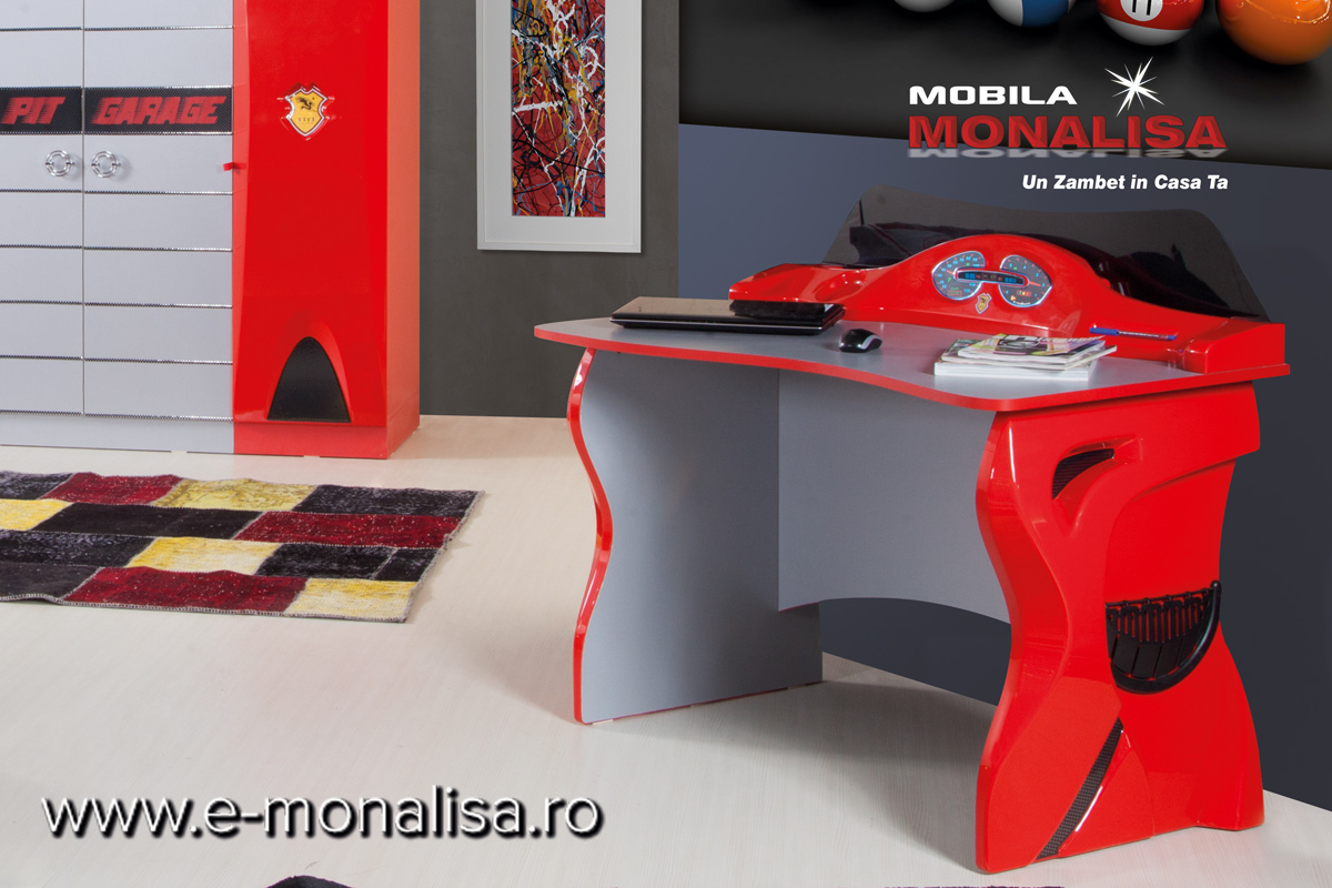 Birou pt Dormitor Copii Formula 1 Rosu