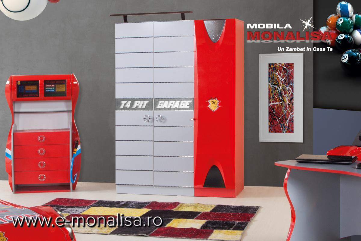 Dulap de haine pt copii cu doua usi Formula 1 Rosu