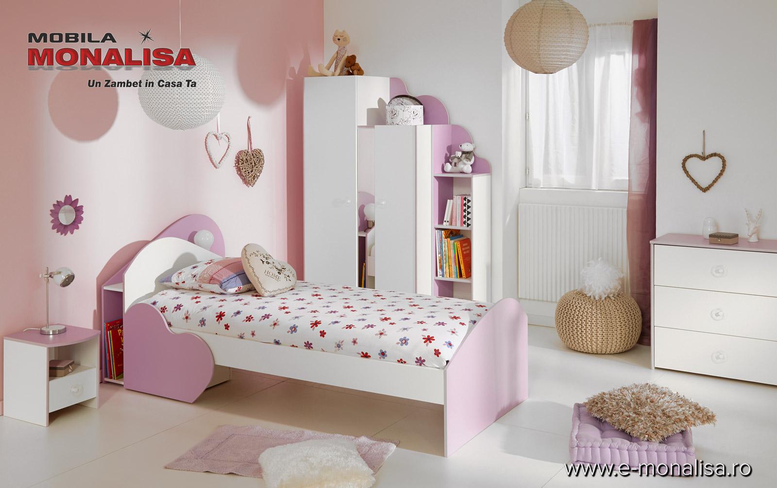 Mobila camera fete violet alb Mila
