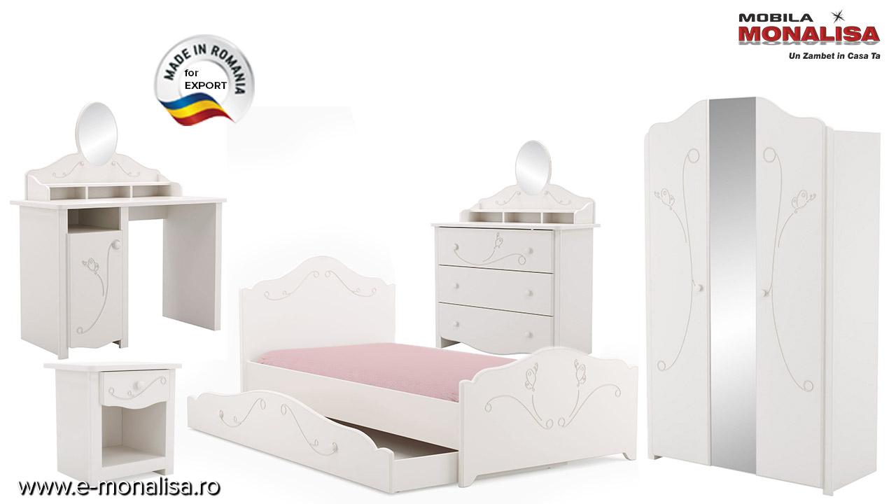 Mobila ieftina dormitor copii tineret fabricat din mdf alb Sweet