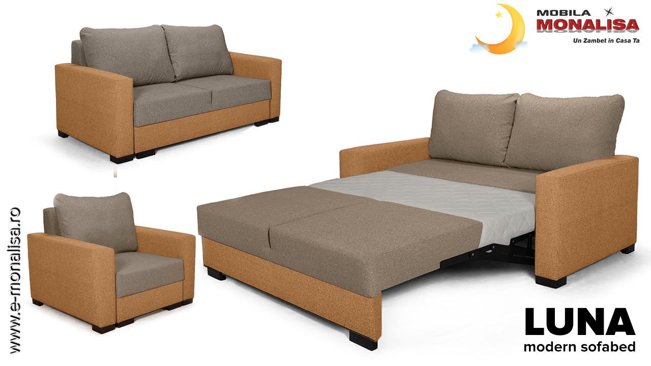 Canapea 2 locuri cu extindere in fata pt. spatii mici