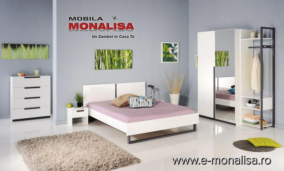 mobila dormitor alb lucios ieftina