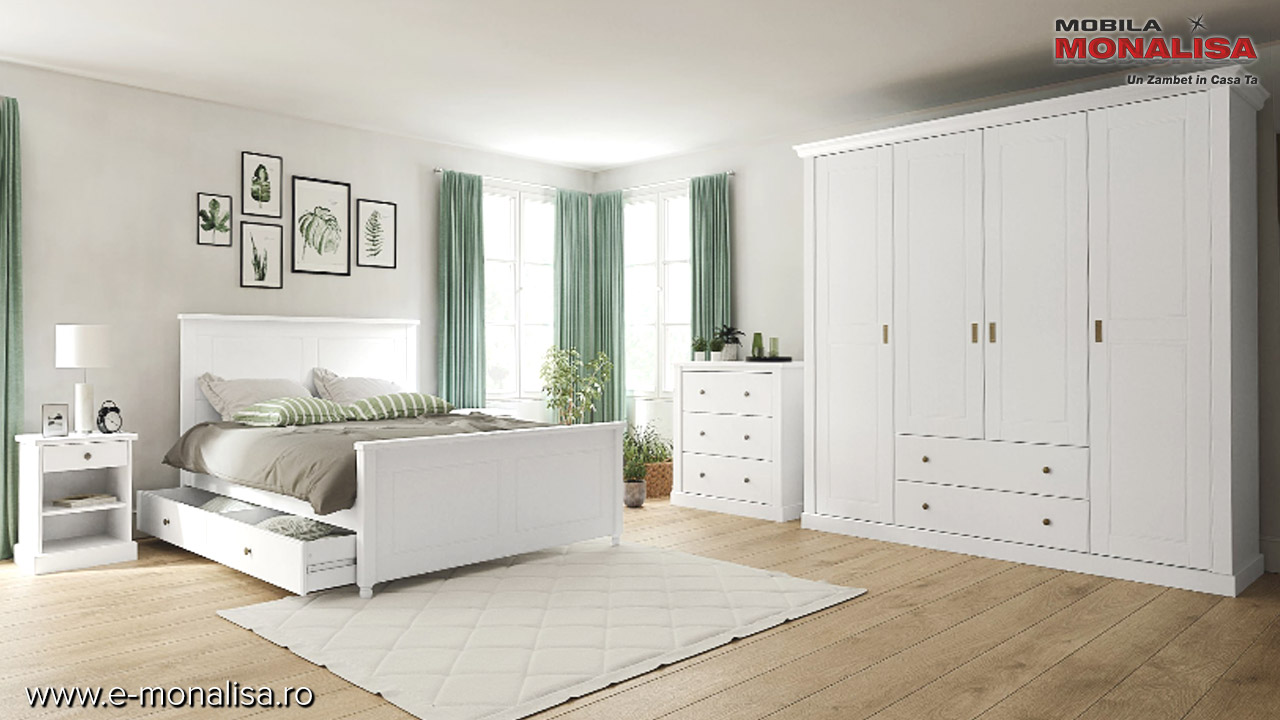 Set mobila dormitor alba Clemence Lemn masiv si MDF pret fabrica