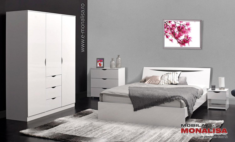 Mobila dormitor alb lucios modern pret de fabrica Letty