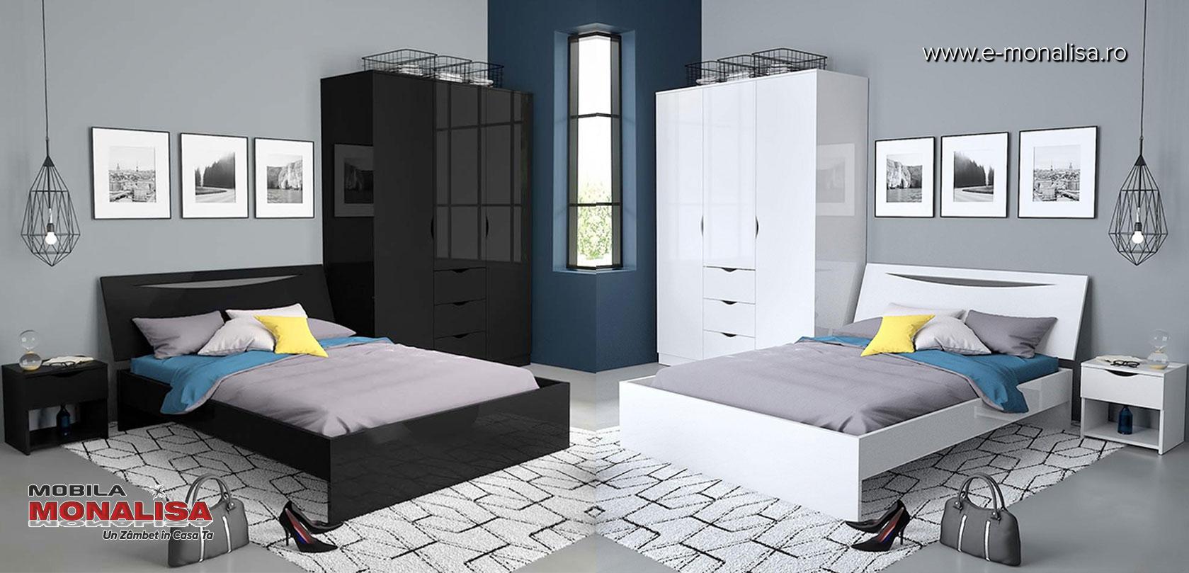 Set mobila dormitor alb negru lucios Letty