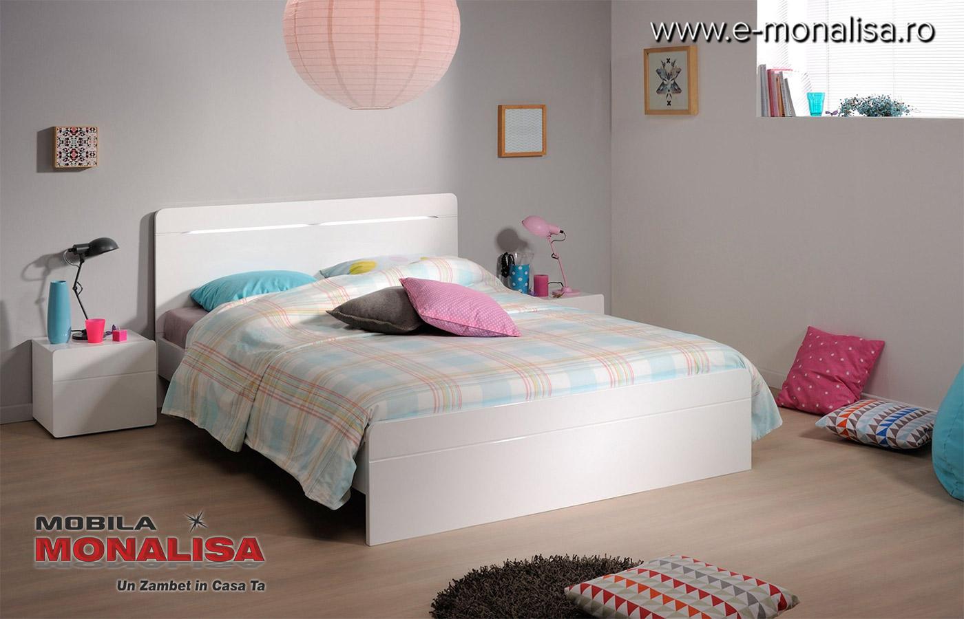 Pat Alb Lucios dormitoare moderne
