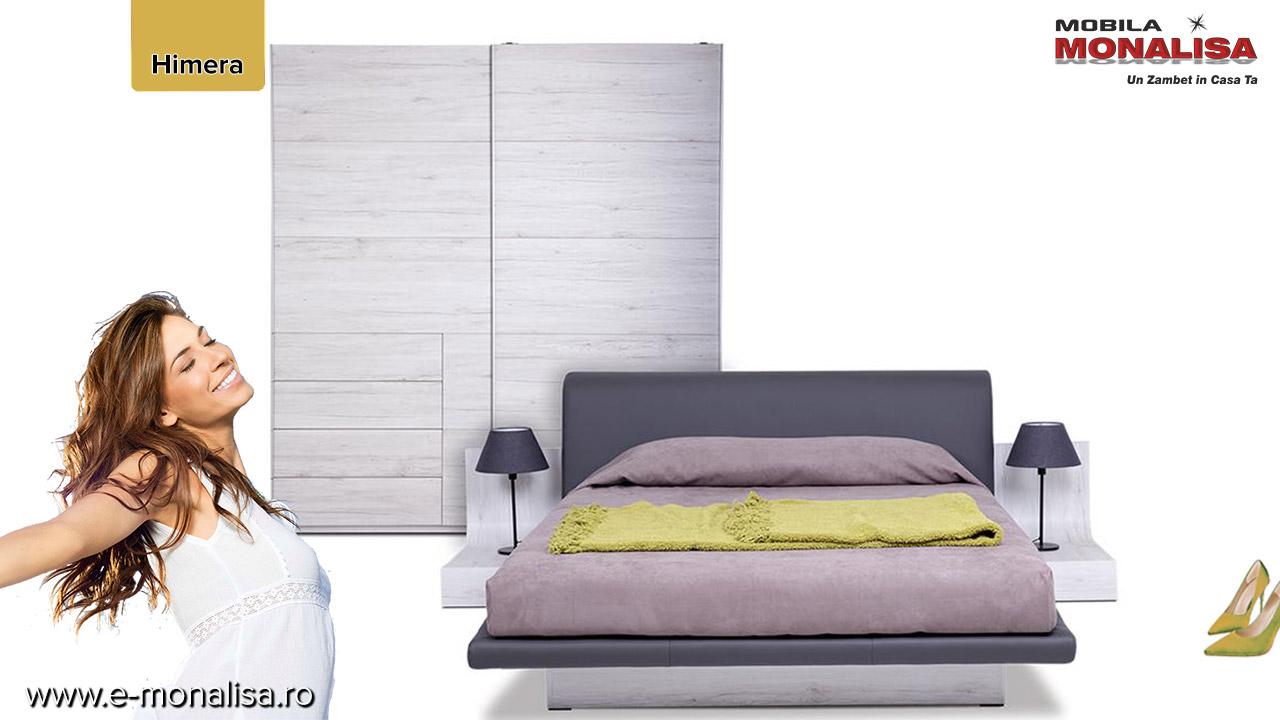 mobila moderna dormitor modern himera pret la comanda alb gri negru