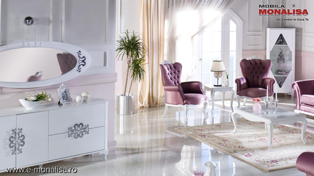 Mobila eleganta de lux living sufragerie alba lucioasa