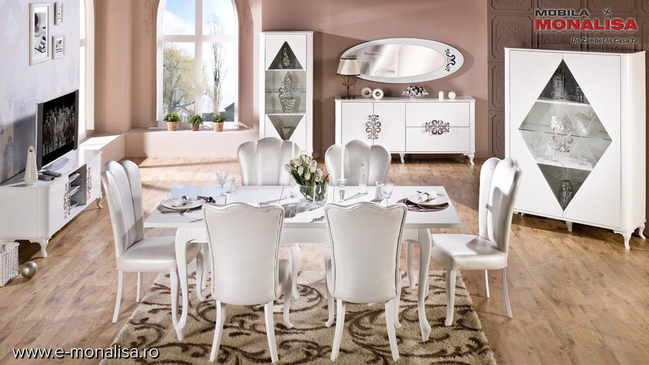 Living - Sufragerie moderna alb lucios de lux Brillance