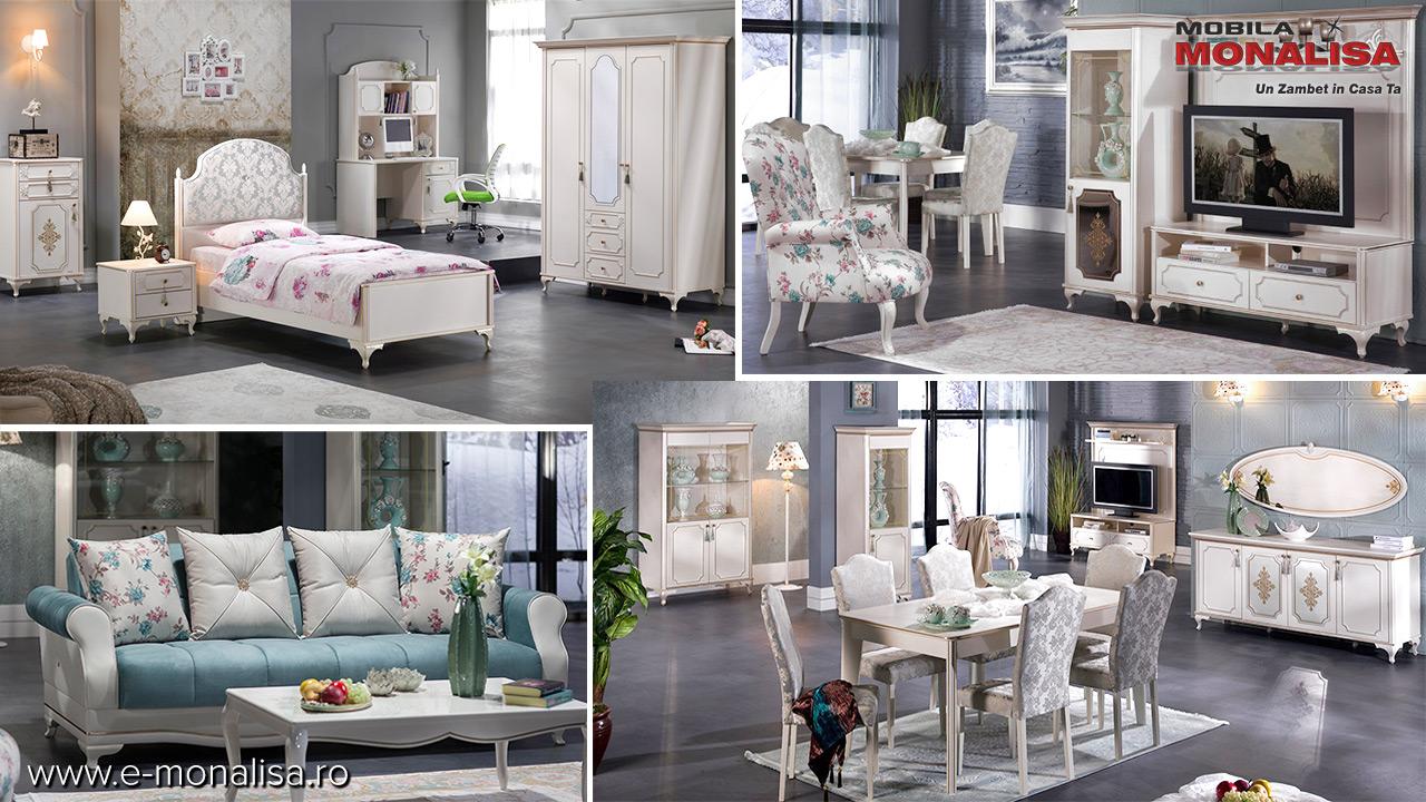 Set complet mobila alba stil clasic