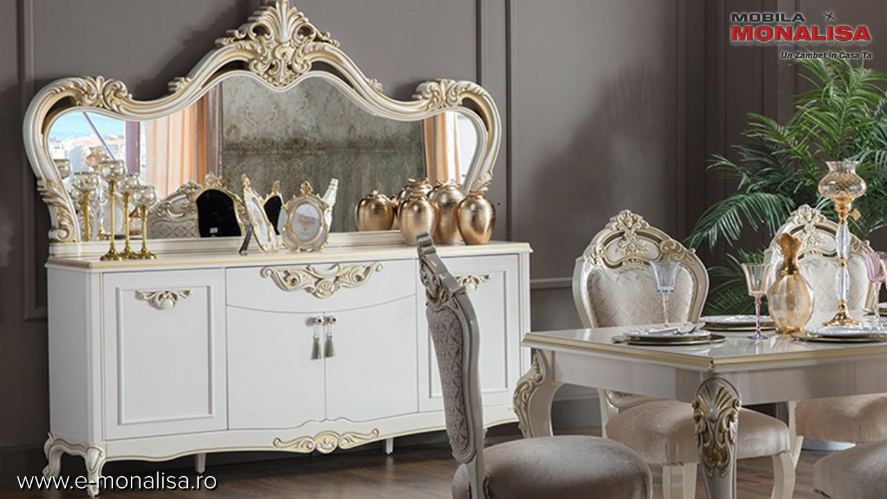 Bufet sufragerie clasica alba de lux