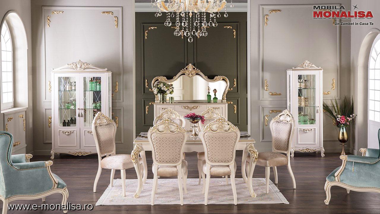Mobila sufragerie Living stil clasic de lux alb auriu Turcia