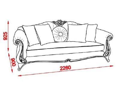 Canapea clasica de lux 3 locuri lemn