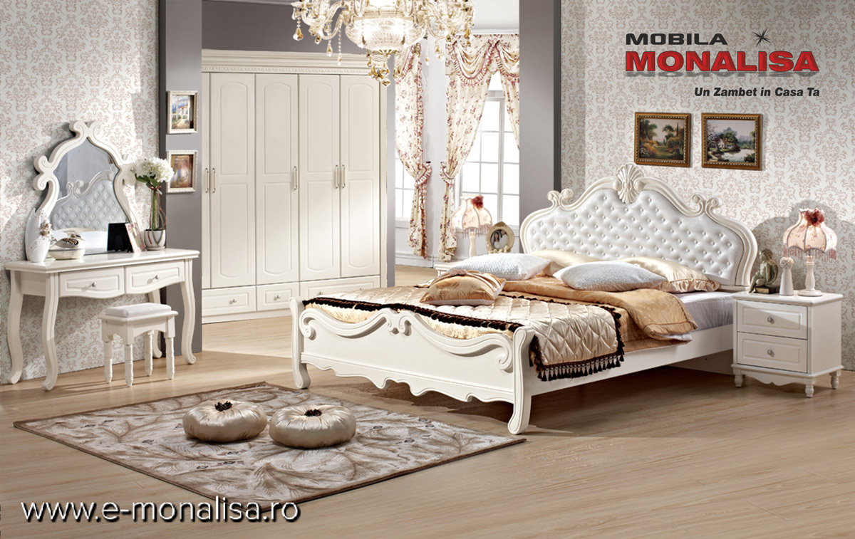 Mobila dormitor clasic alb mat de lux