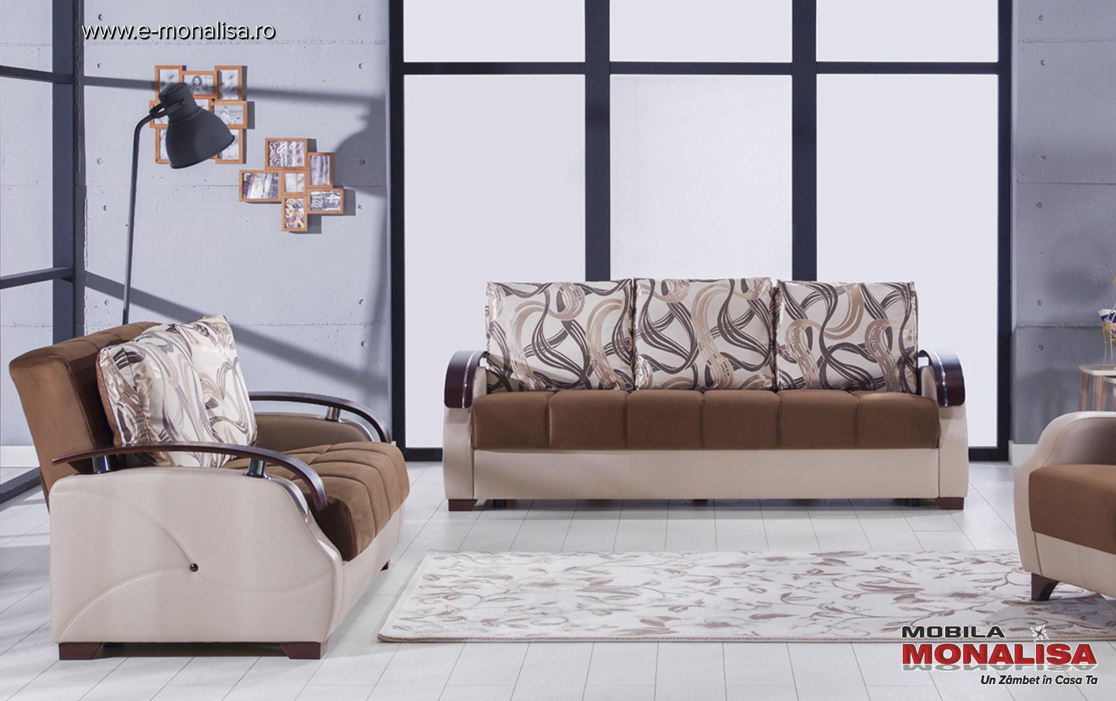 Canapea extensibila pat mare 3 locuri maro