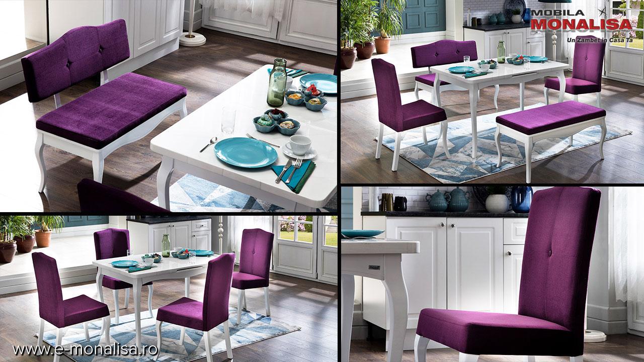 Mese extensibile albe lemn masiv si mdf cu scaune si banchete tapitate Diana