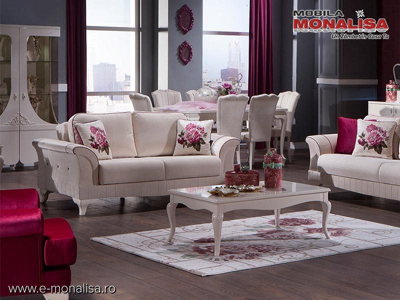canapea clasica extensibila confortabila elegance crem cu perne visiniu