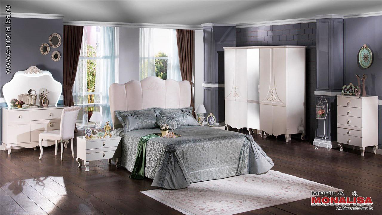Amenajare dormitor modern alb de lux Elegant