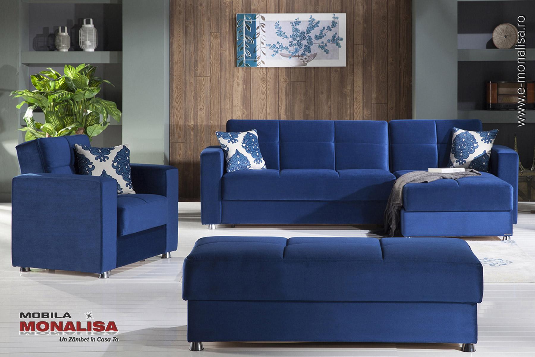 Canapele de colt cu fotolii extensibile cu lada