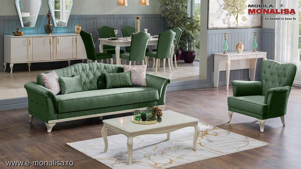 Canapele elegante extensibile de lux verde
