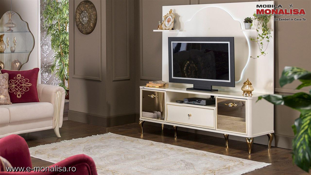 Comoda alkba de lux cu auriu pentru televizor