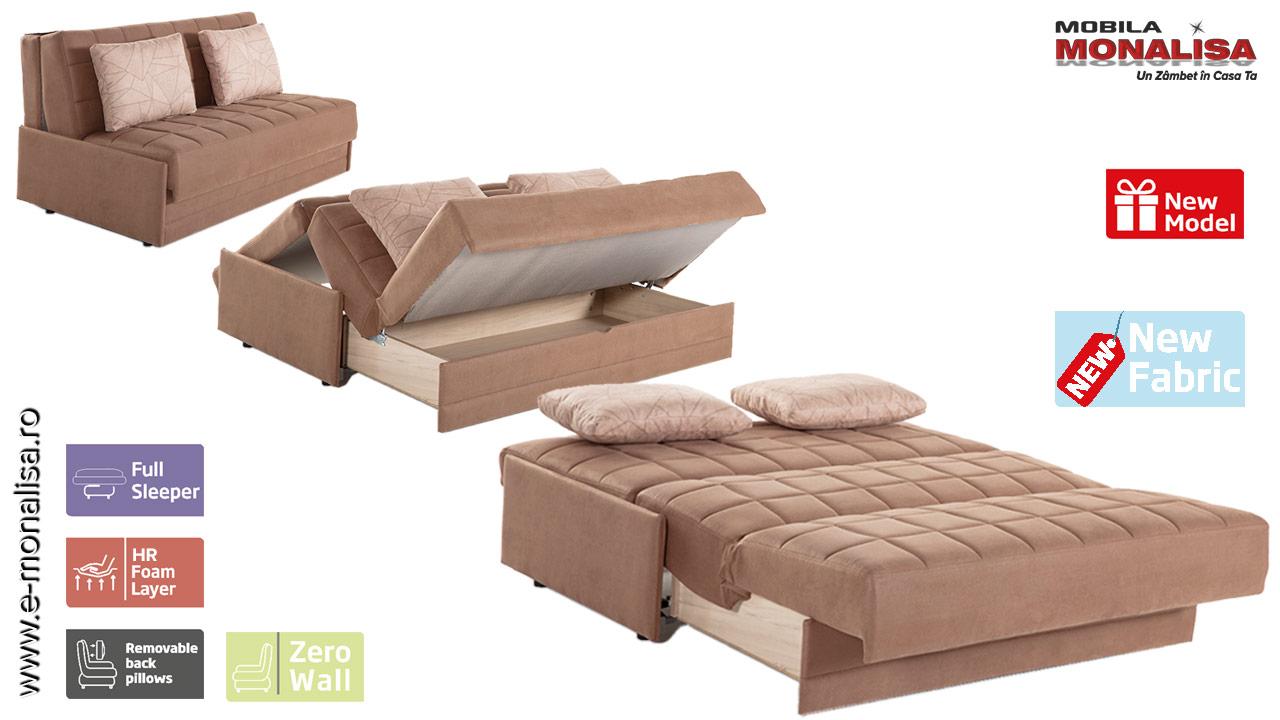 Canapea extensibila 2 locuri cu extensie in fata