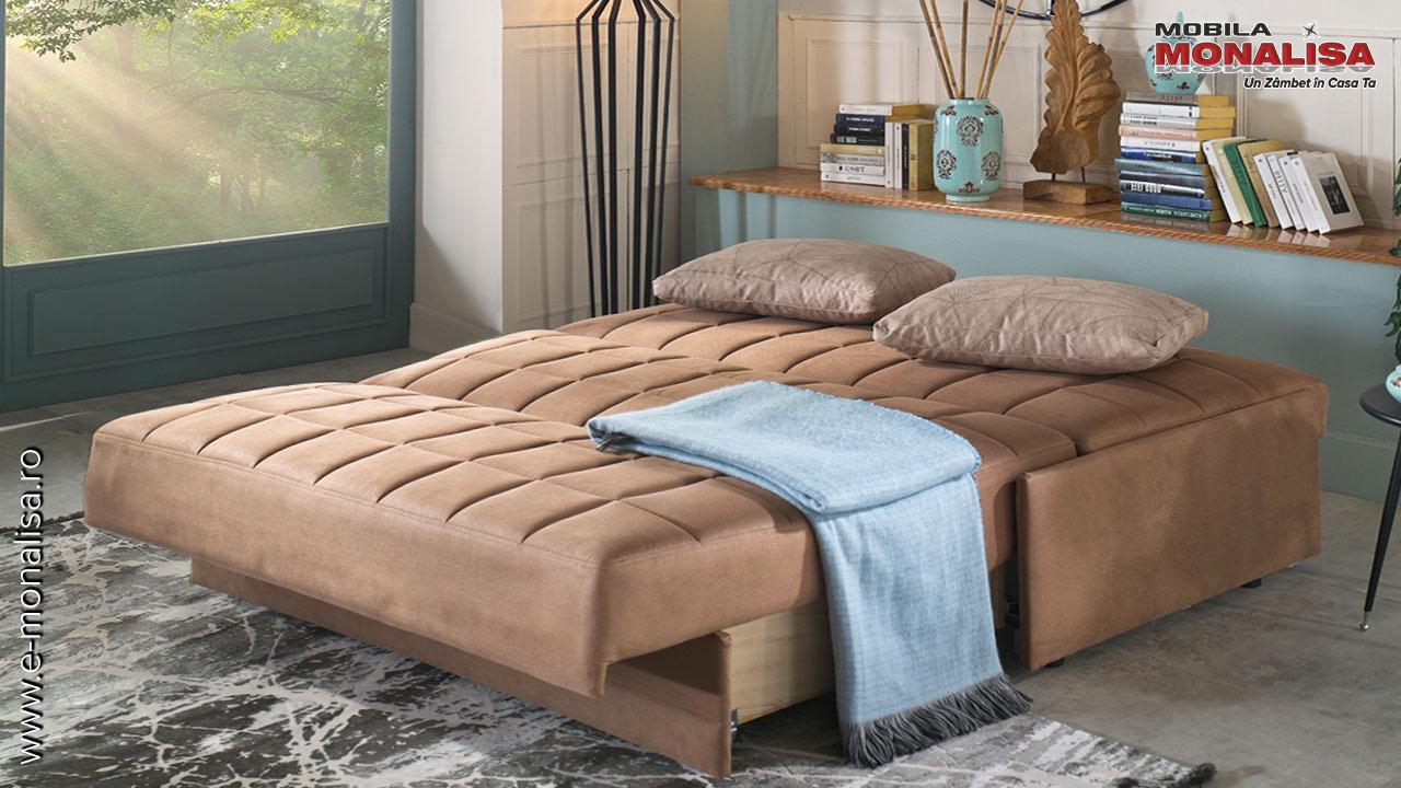 Canapele 2 locuri extensibile cu extensie in fata Super Twist maro