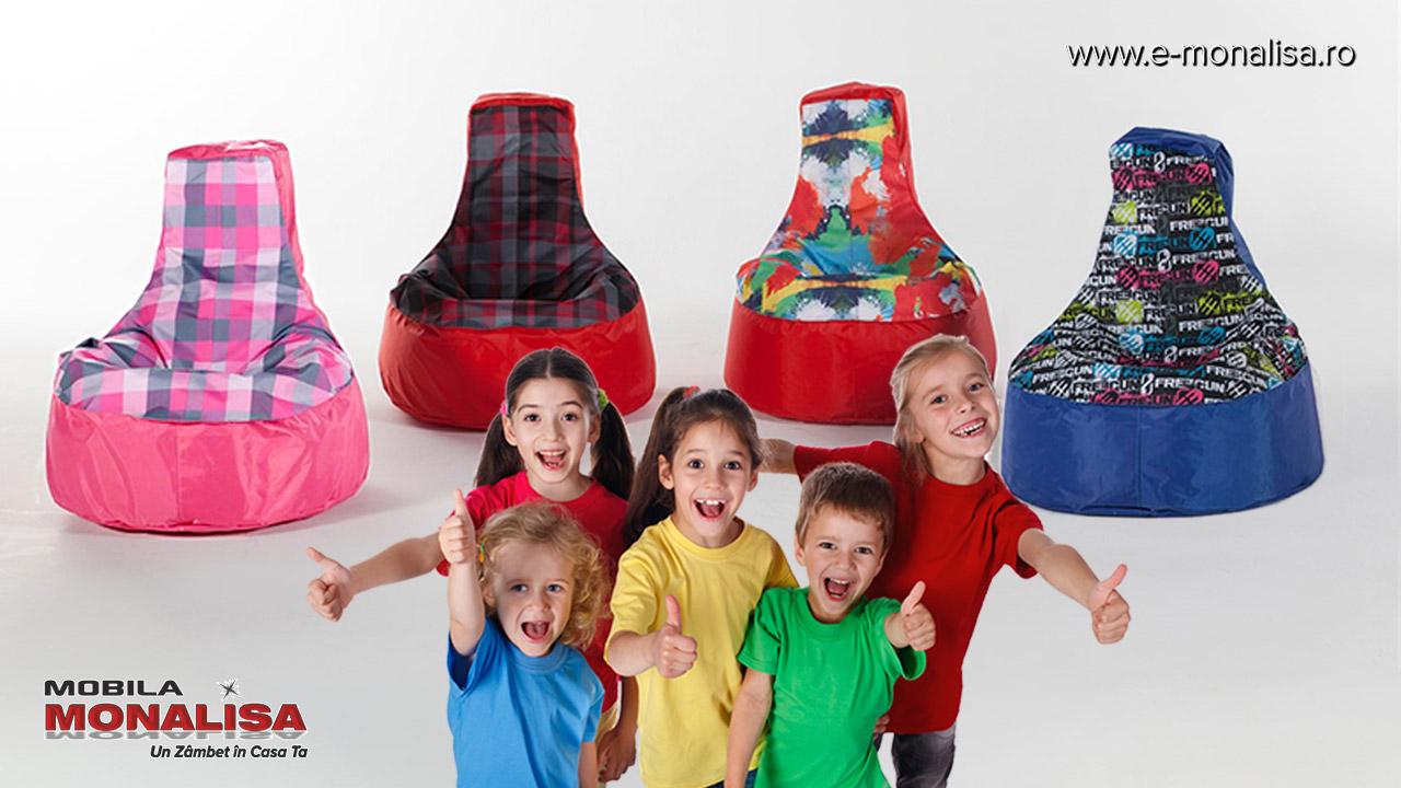 Fotolii para tip puf pentru copii Albastru - Rosu - Roz