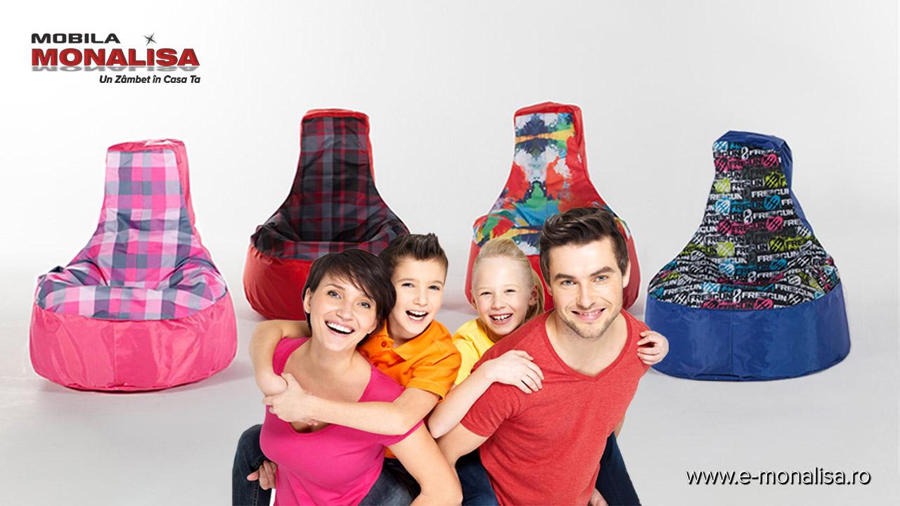 Fotolii puf in forma de para pentru copii Roz Rosu Albastru
