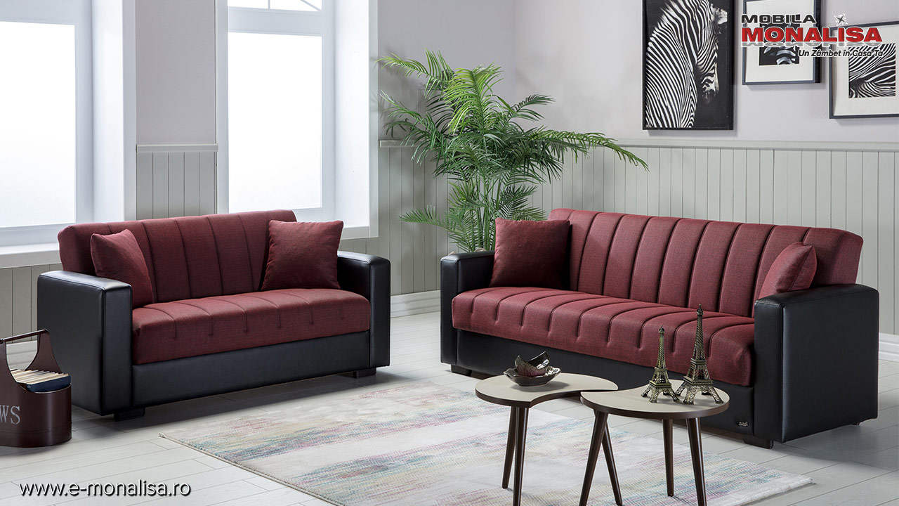 Canapele extensibile ieftine de 3 locuri cu lada rosii