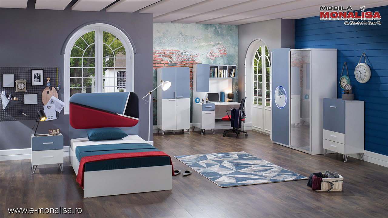 Set Dormitor modern baieti fete copii tineret alb bleu rosu negru