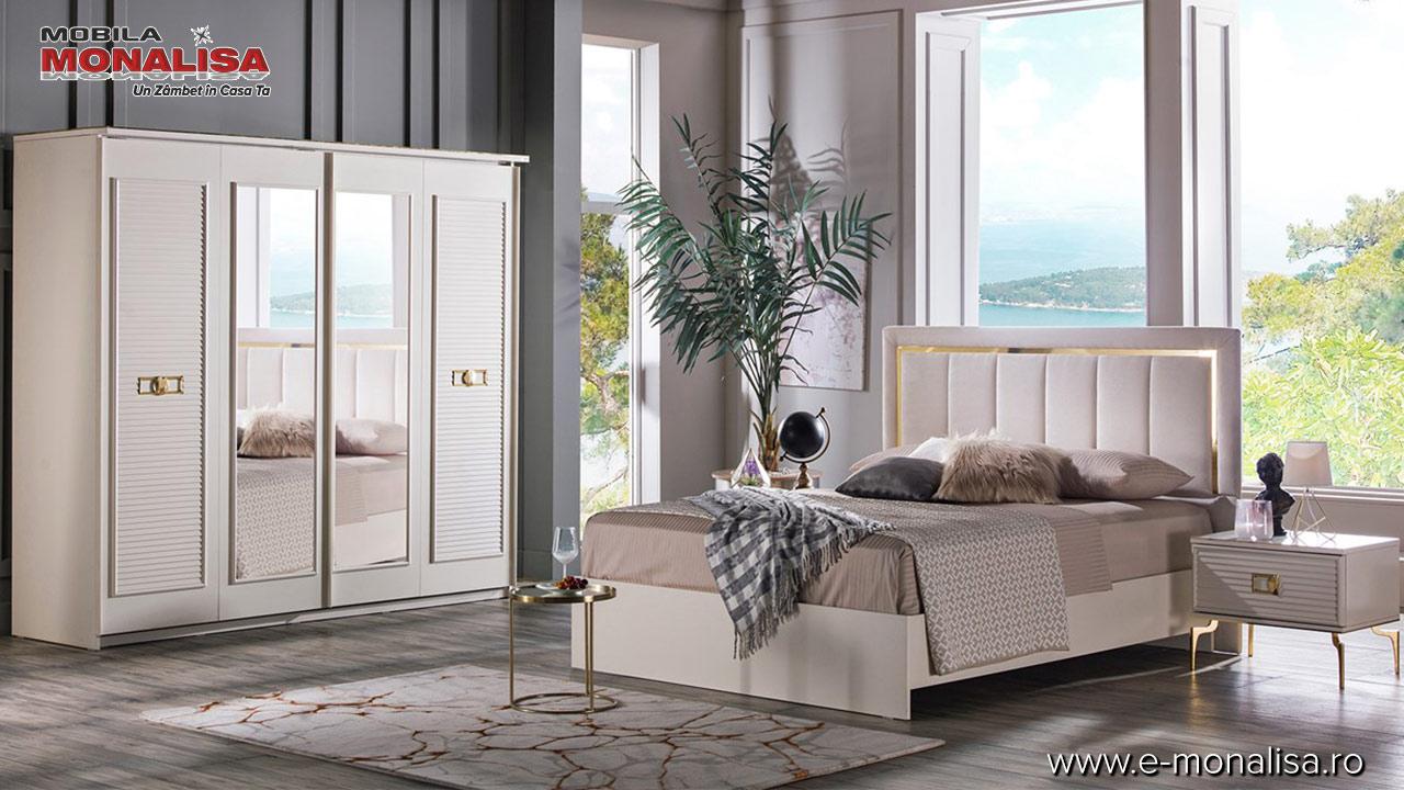 mobila moderna de lux dormitor alb