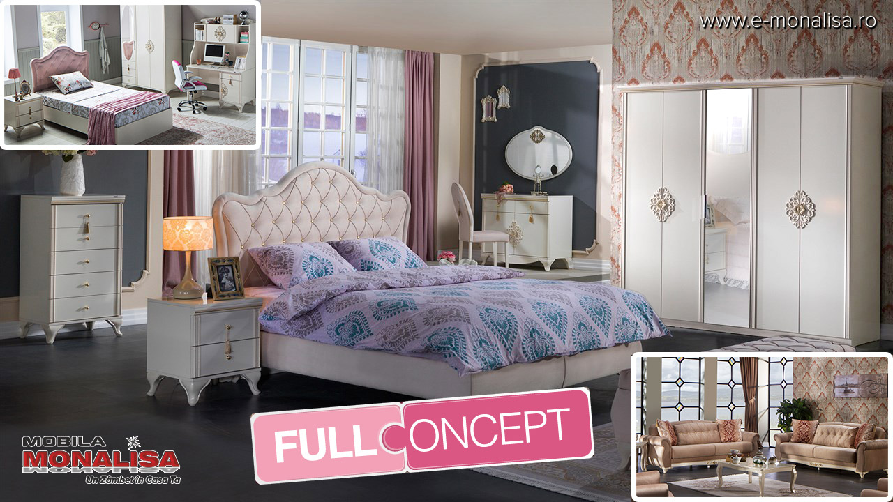 Amenajare dormitor alb de lux elegant